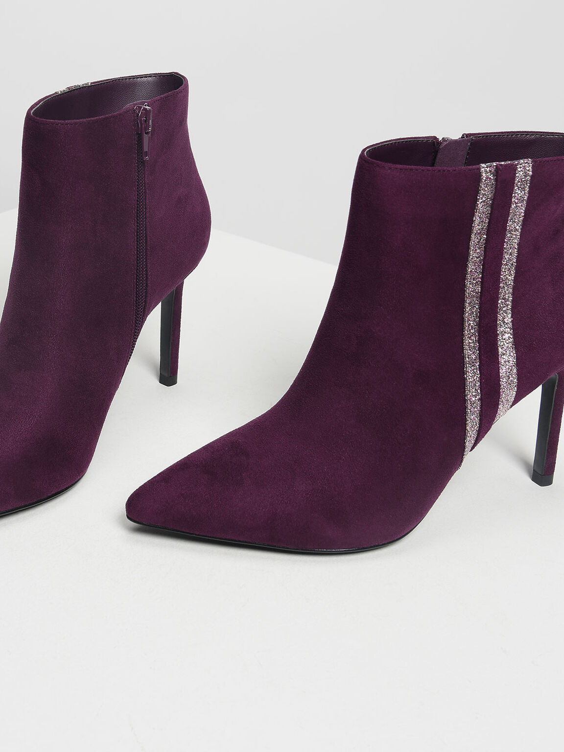 Glitter Striped Ankle Boots, Prune, hi-res