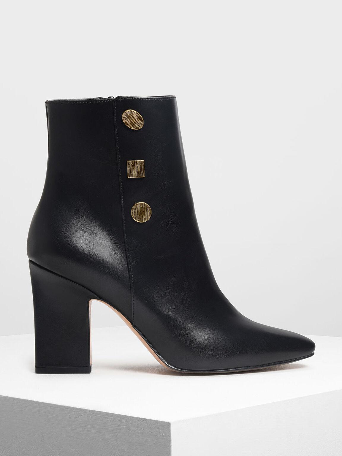 Vintage Button Detail Calf Boots, Black, hi-res
