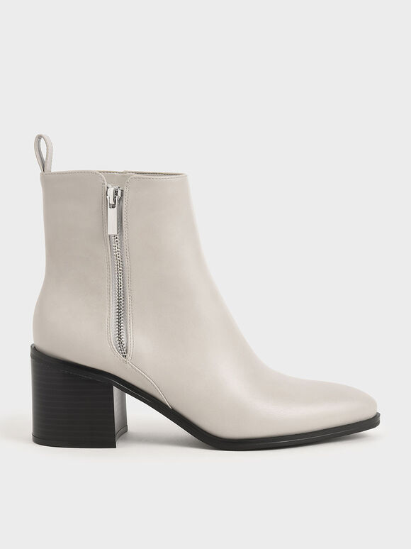 Side Zip Heeled Ankle Boots, Light Grey, hi-res