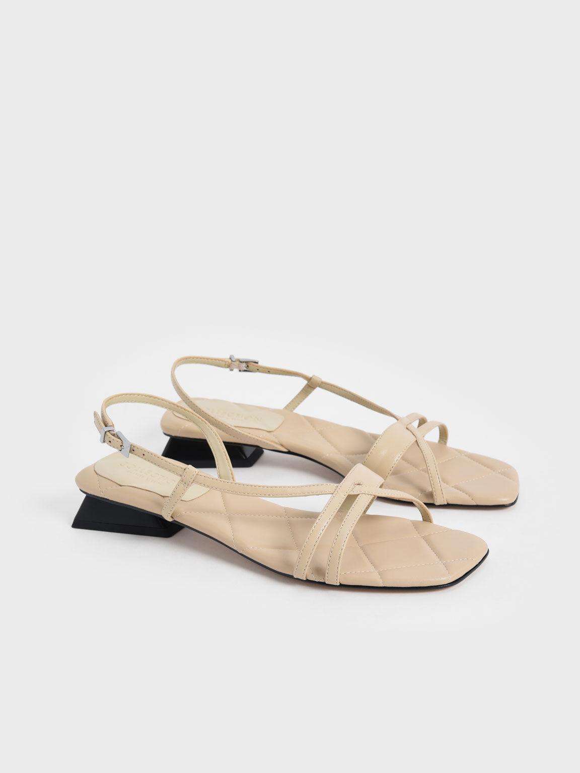 Leather Trapeze Heel Slingback Sandals, Chalk, hi-res