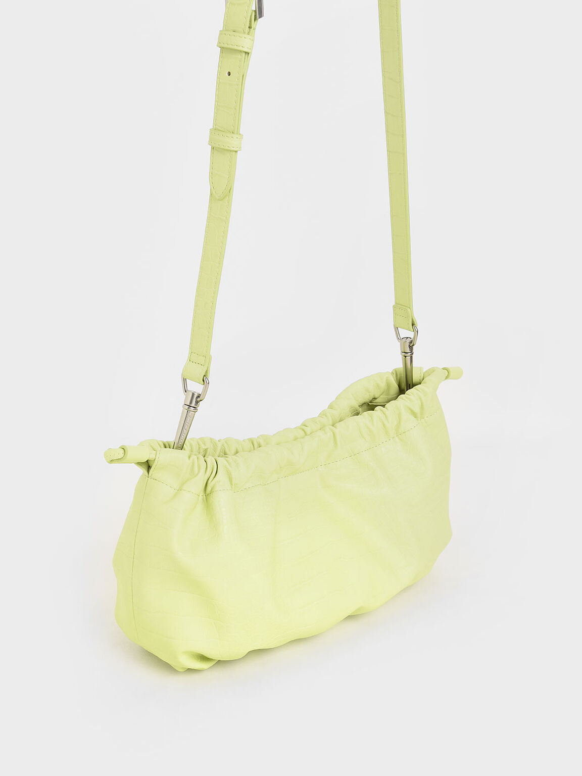 Croc-Effect Chain Handle Drawstring Clutch, Lime, hi-res