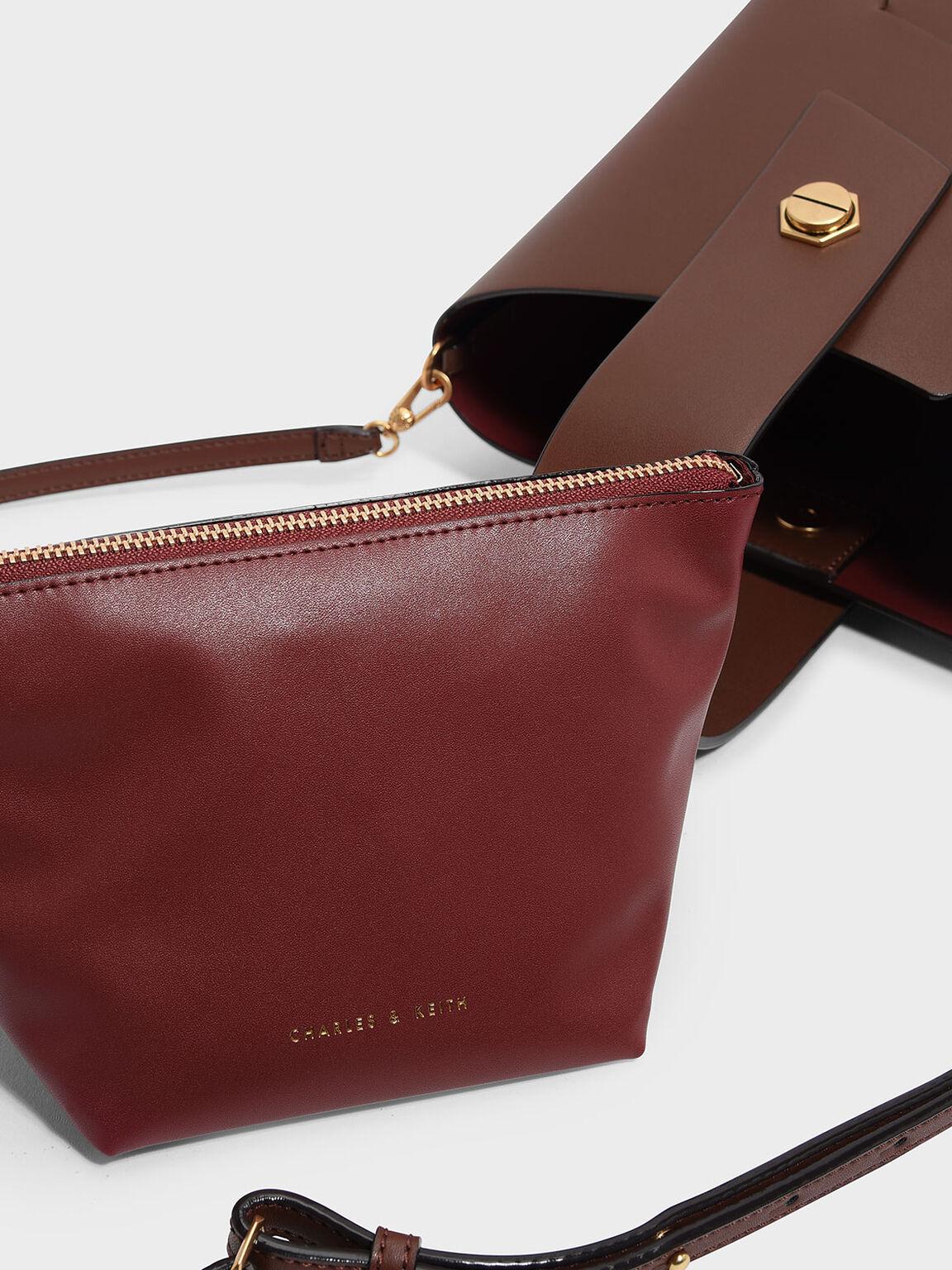 Wristlet Handle Bucket Bag, Cognac, hi-res