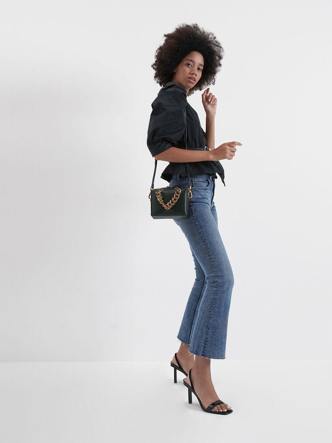 Tinted Strap Slingback Heels, Black, hi-res