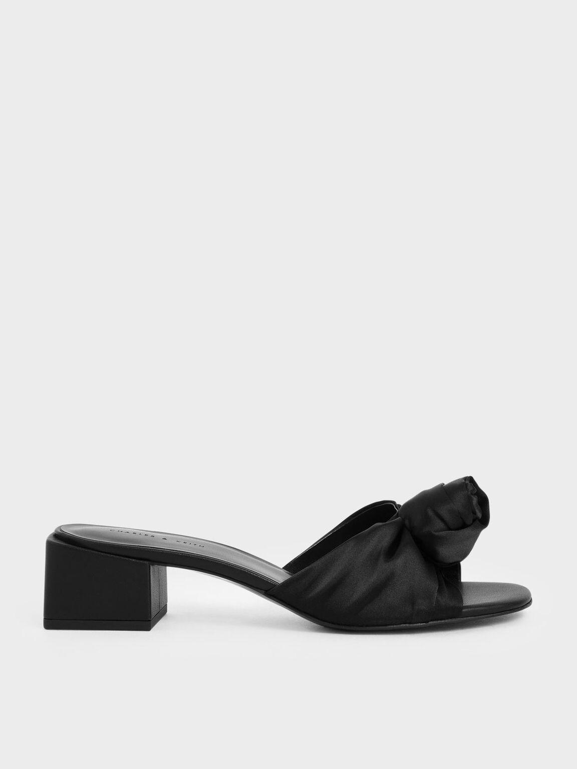 Jacquard Front Knot Slide Sandals, Black, hi-res