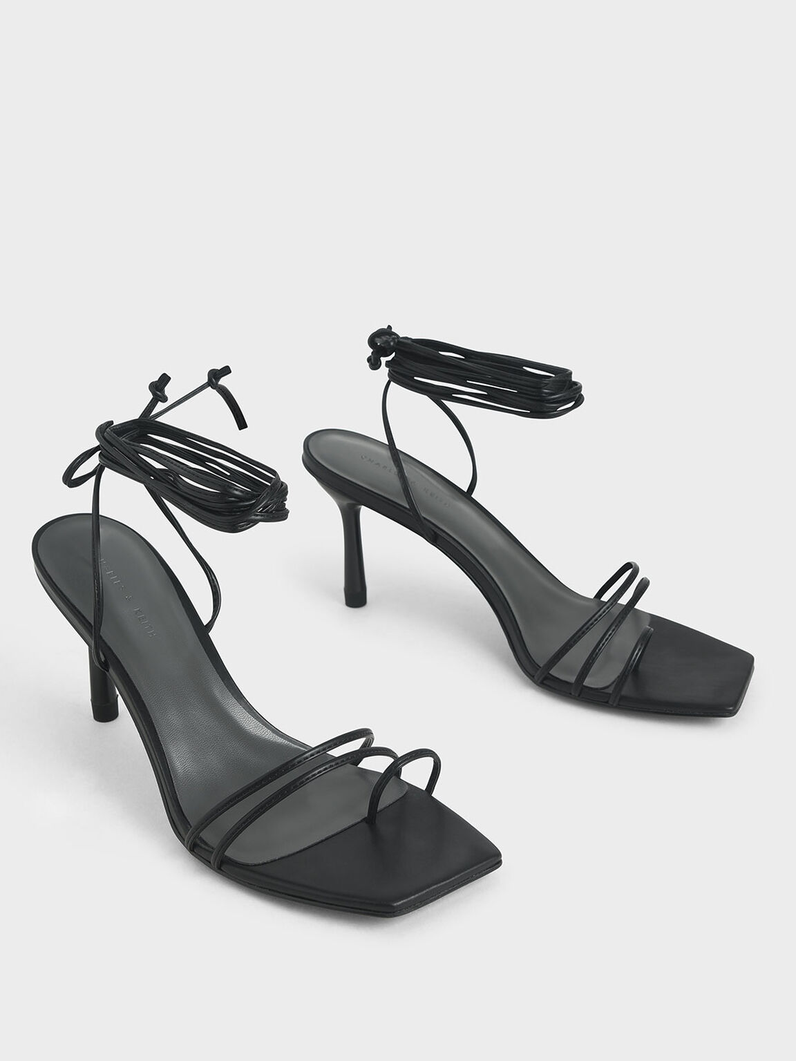 Strappy Tie Up Heels, Black, hi-res