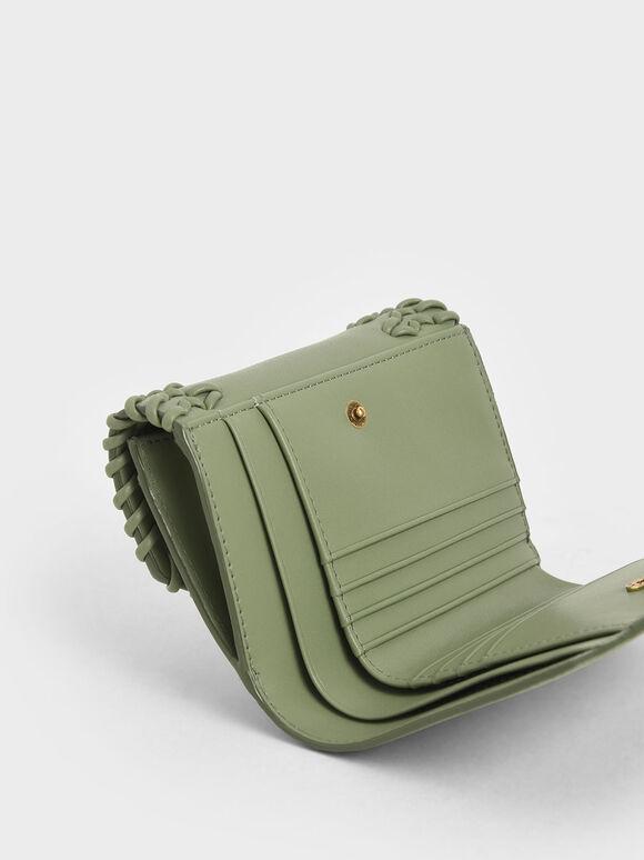 Woven Metallic Push-Lock Wallet, Sage Green, hi-res