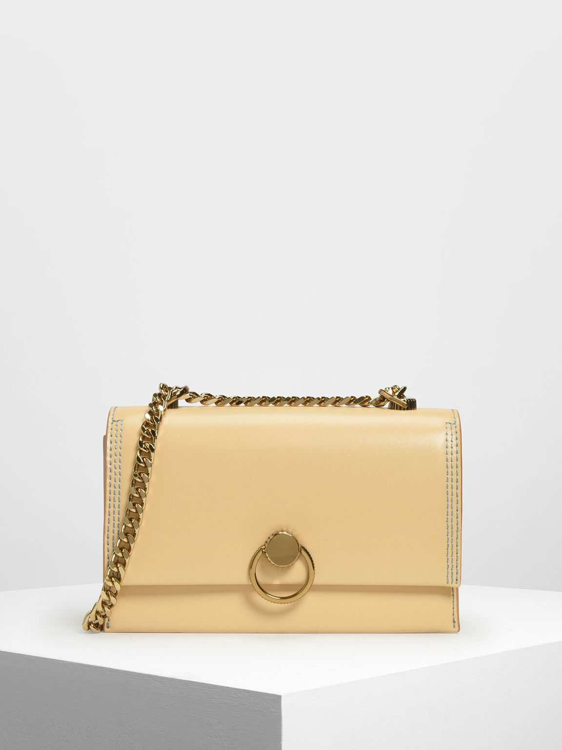 Chain & Strap Push Lock Shoulder Bag, Yellow, hi-res