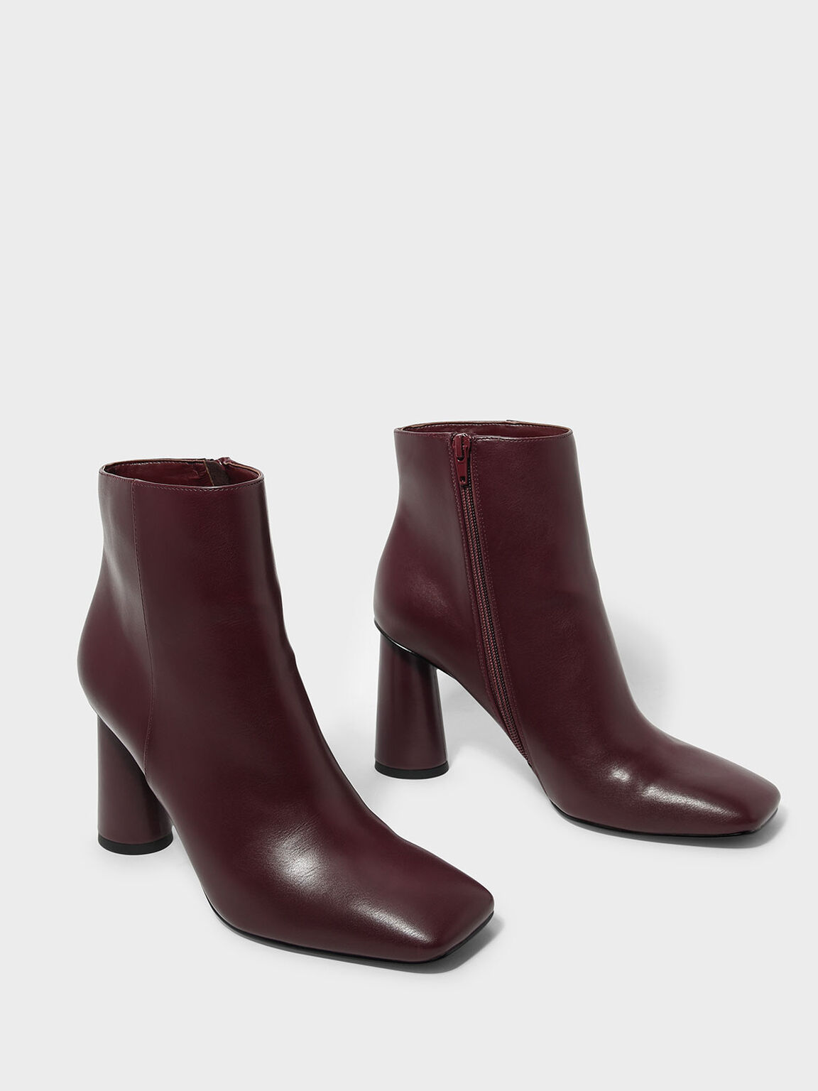 Square Toe Calf Boots, Burgundy, hi-res