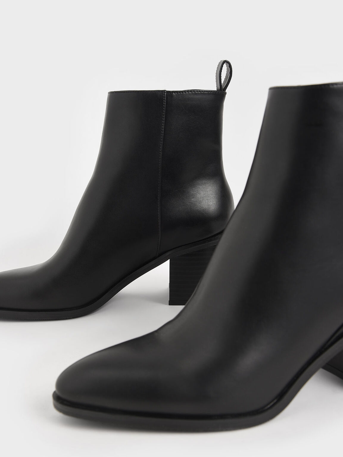 Side Zip Heeled Ankle Boots, Black, hi-res