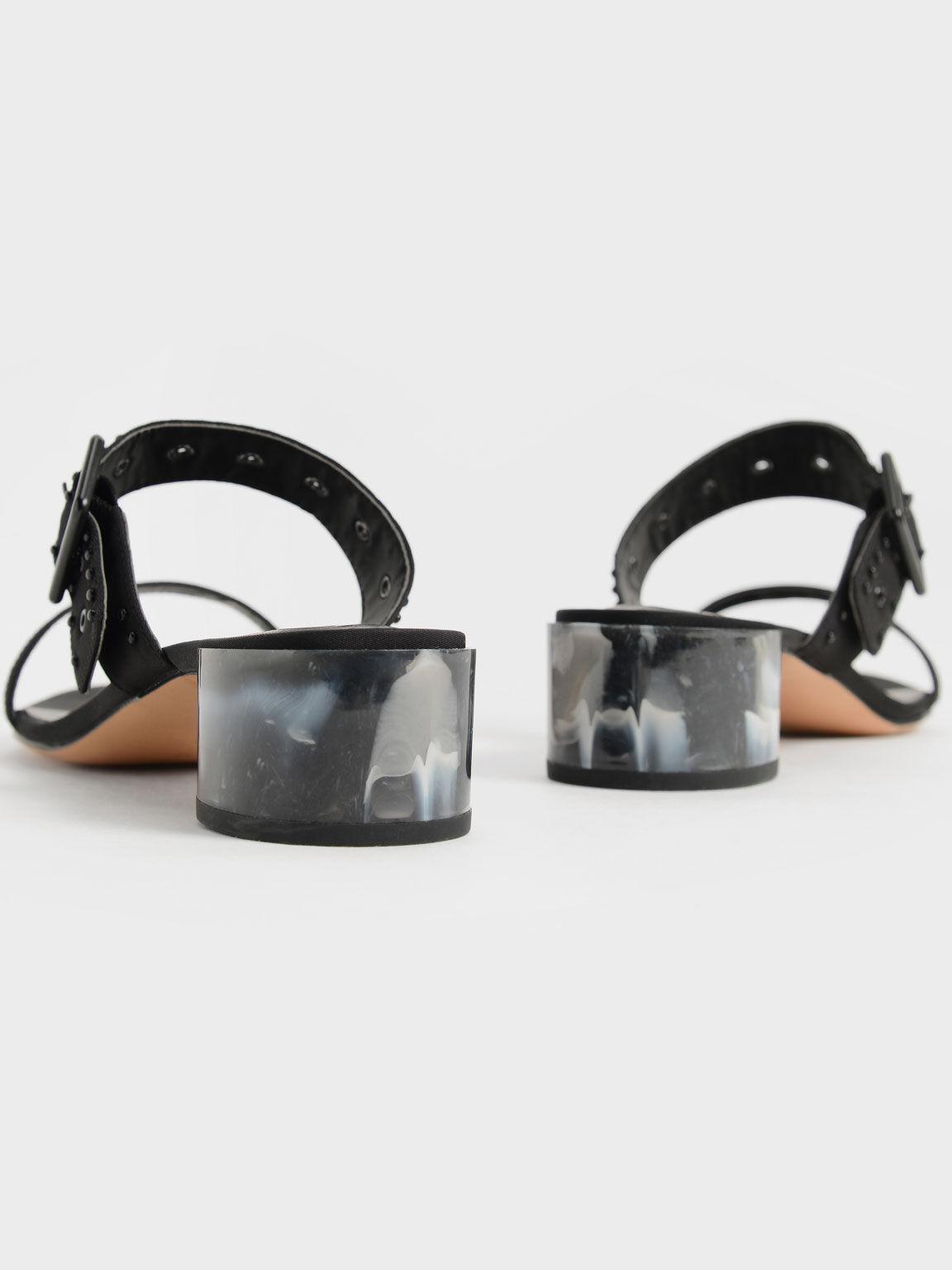 The Anniversary Series: Sepphe Recycled Nylon Grommet Mules, Black, hi-res