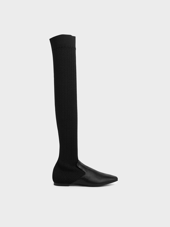 Knitted Thigh High Boots, Black, hi-res