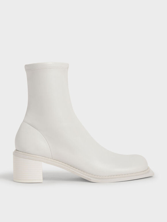 Bee Stitch-Trim Ankle Boots, White, hi-res