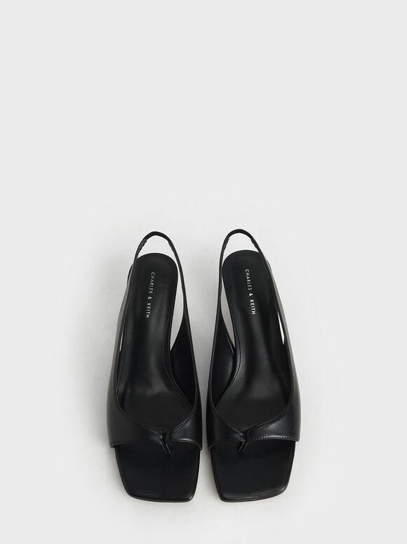 Slingback Thong Sandals, Black, hi-res