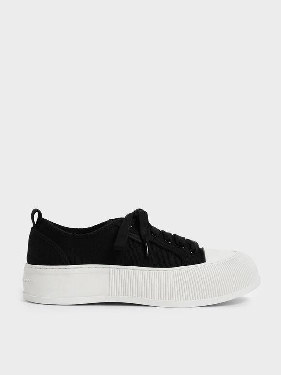 Organic Cotton Low-Top Sneakers, Black, hi-res