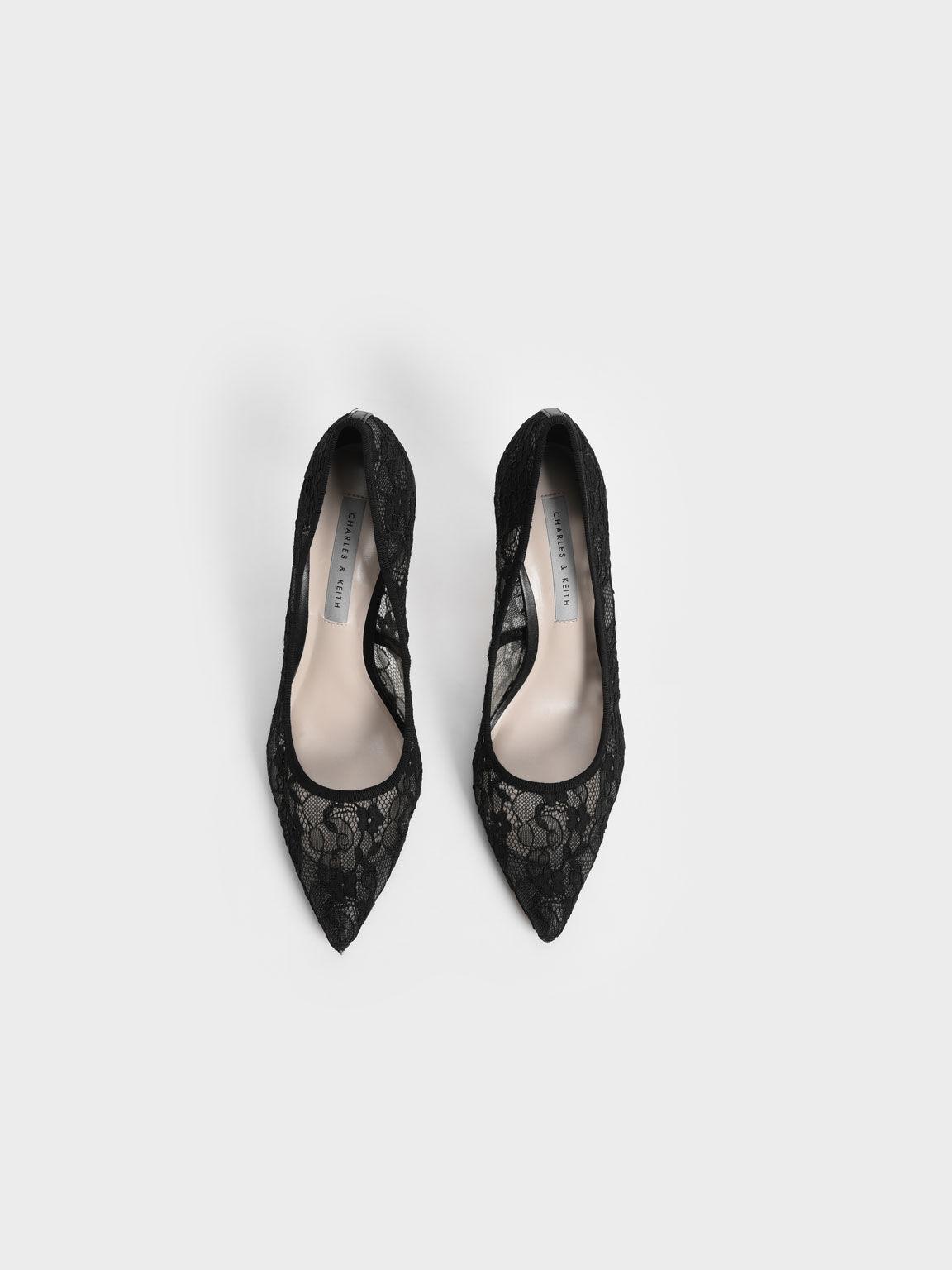 Lace Stiletto Pumps, Black, hi-res