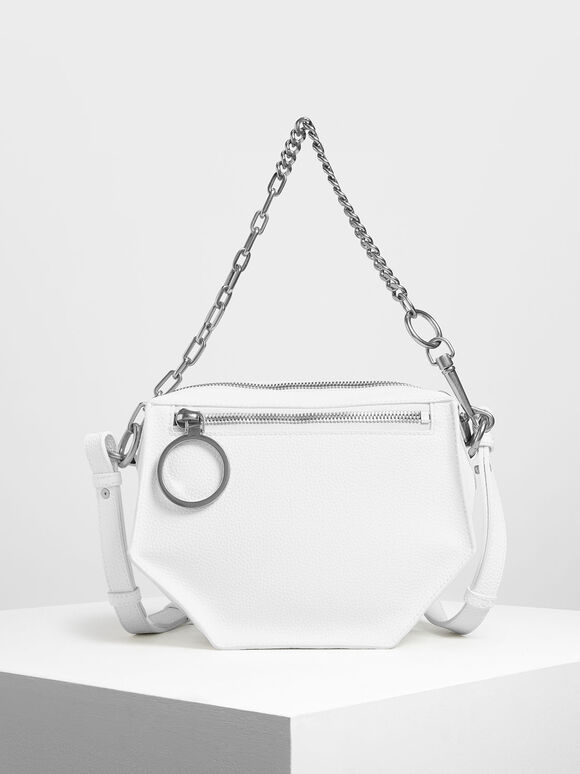 Geometric Crossbody Bag, White, hi-res