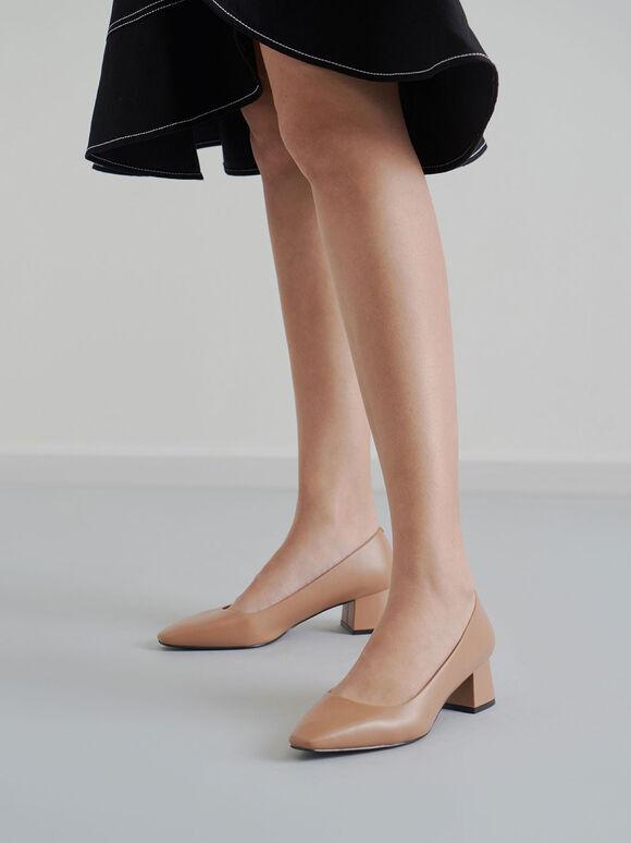 Square Toe Block Heel Pumps, Nude, hi-res