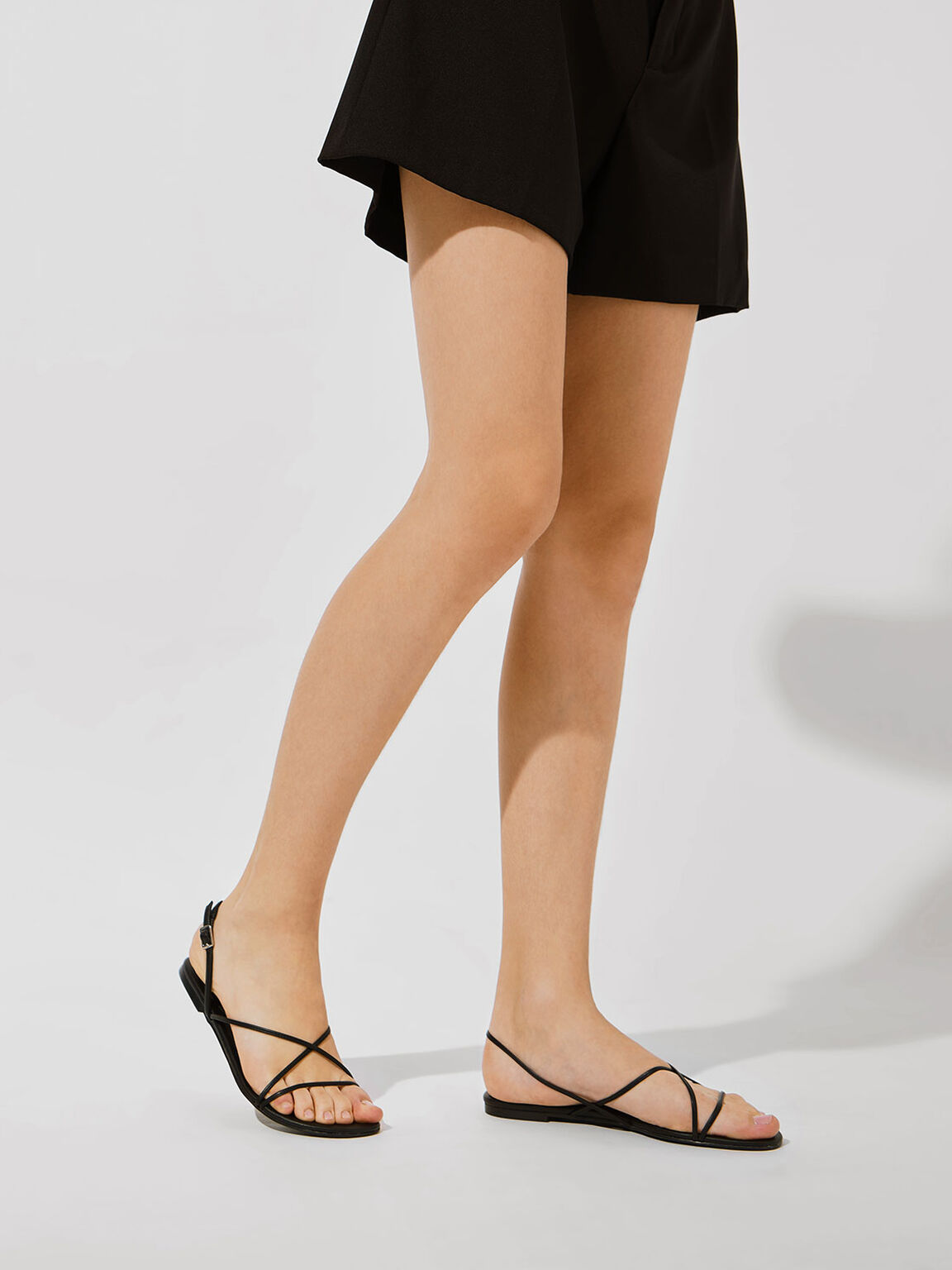 Strappy Flat Sandals, Black, hi-res