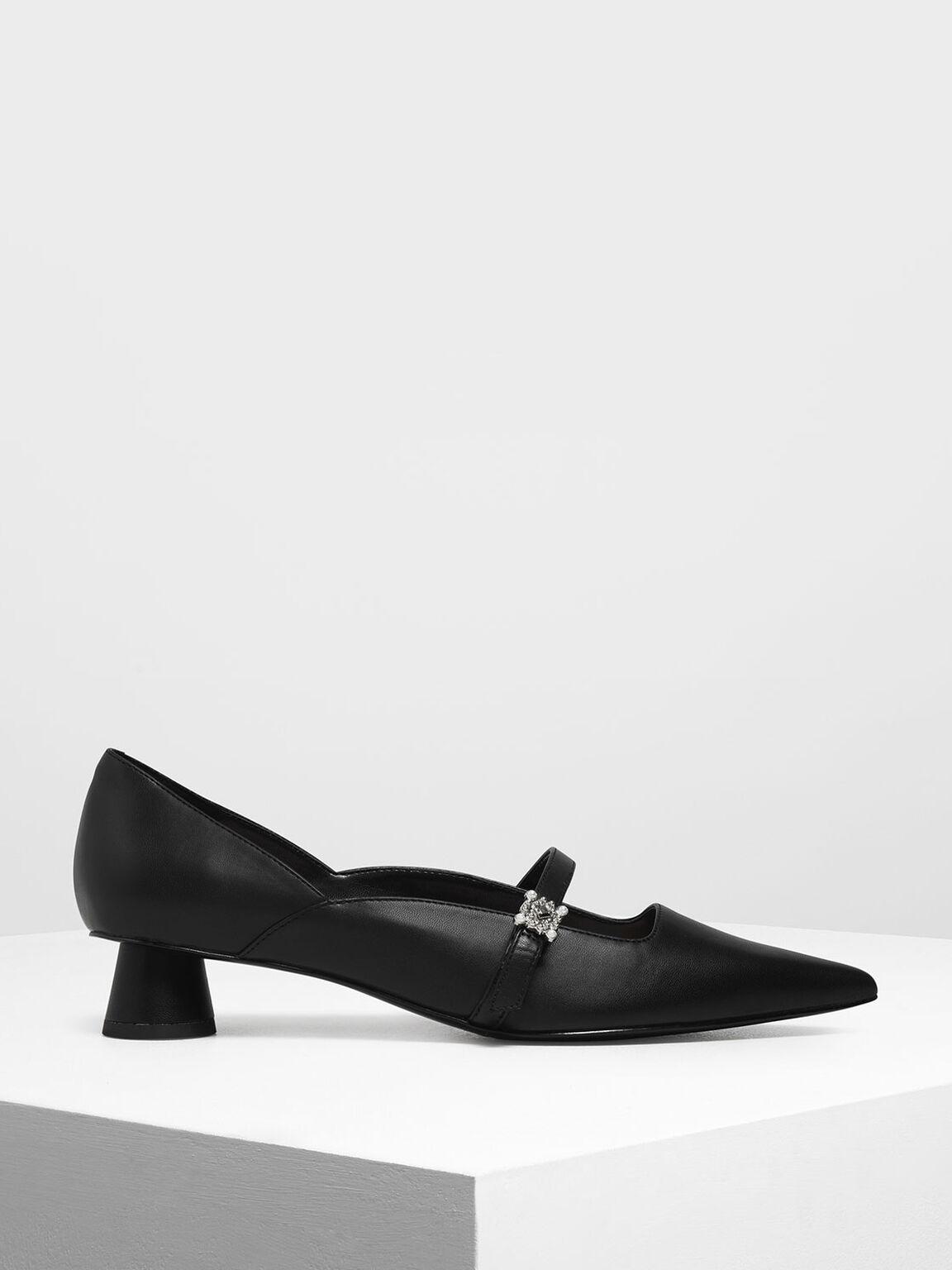 Gem Embellished Cylindrical Heel Mary Jane Pumps, Black, hi-res