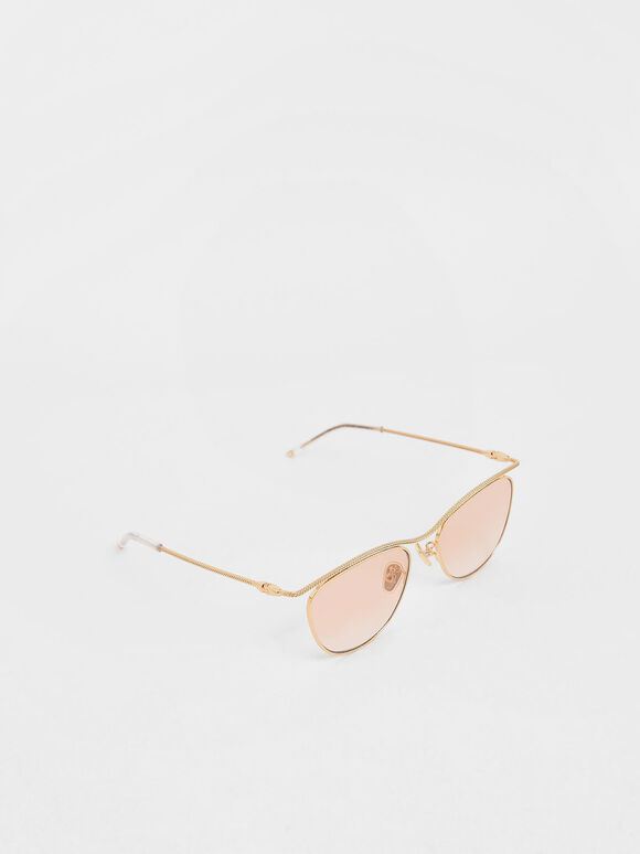 Wireframe Tinted Sunglasses, Orange, hi-res
