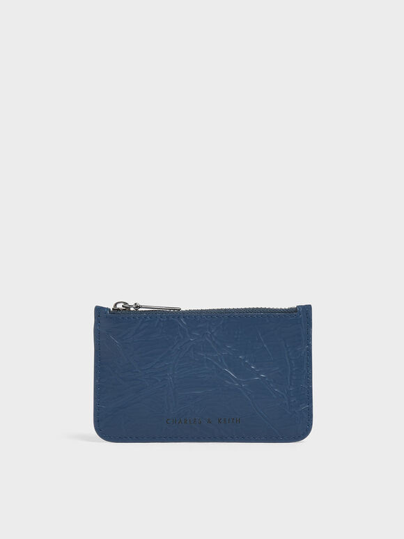 Wrinkled Effect Top Zip Cardholder, Blue, hi-res