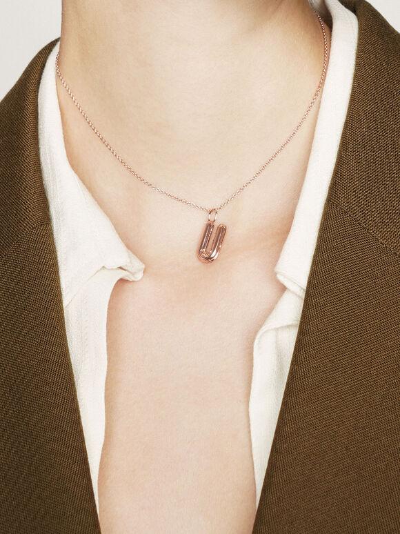 Alphabet 'U' Charm, Rose Gold, hi-res