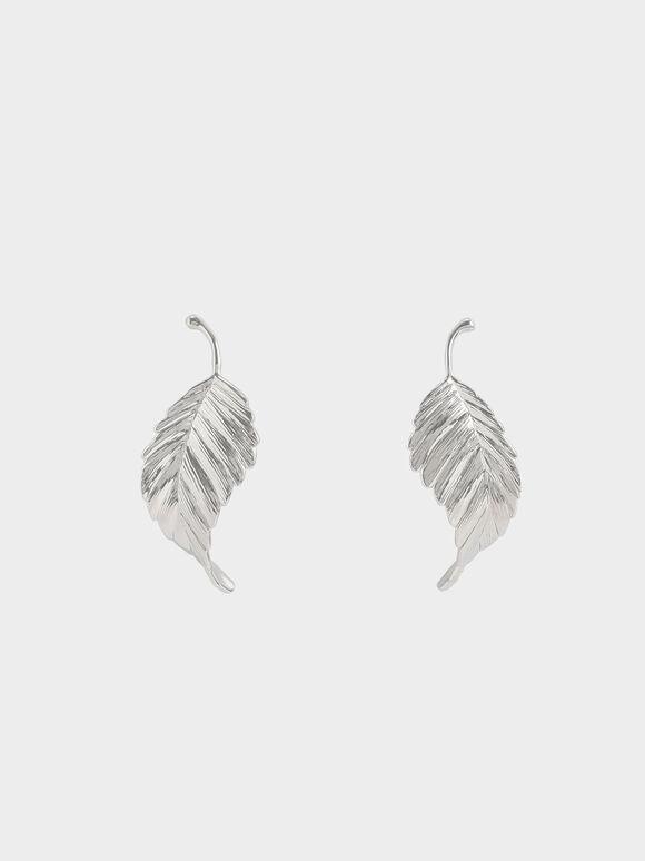 Leaf Stud Earrings, Silver, hi-res