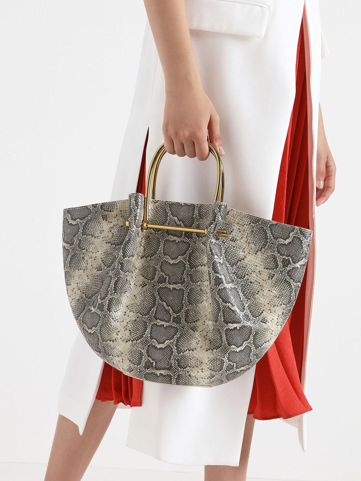 Snake Print Petal Fold Tote Bag, Grey, hi-res