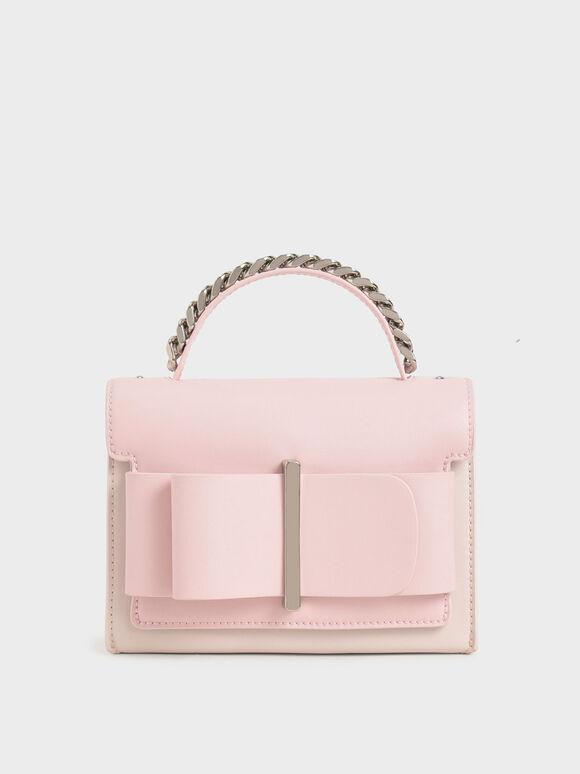 Bow Top Handle Bag, Pink, hi-res