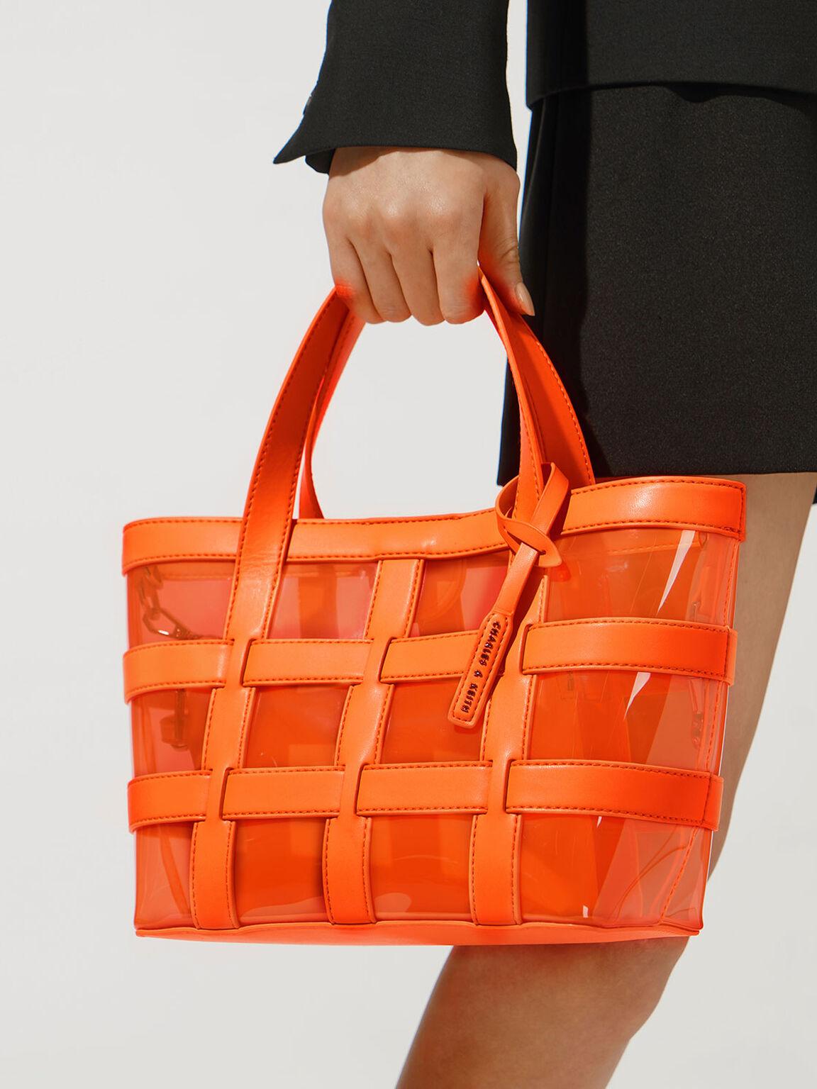 Caged See-Through Tote Bag, Neon Orange, hi-res