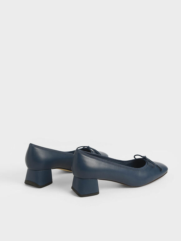 Bow Block Heel Pumps, Dark Blue, hi-res