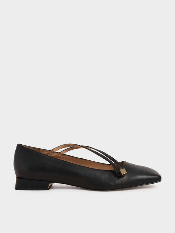 Leather Asymmetric Strap Ballerina Flats, Black, hi-res
