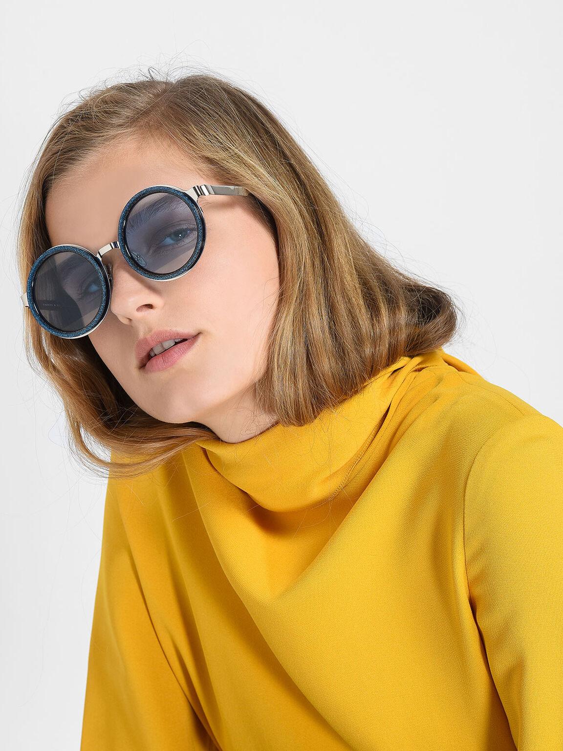 Round Frame Sunglasses, Blue, hi-res
