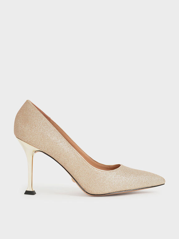 Wedding Collection: Glitter Sculptural Stiletto Heel Pumps, Gold, hi-res