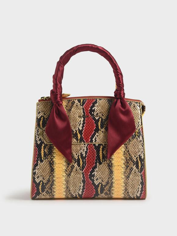 Snake Print Satin Scarf Handle Bag, Multi, hi-res