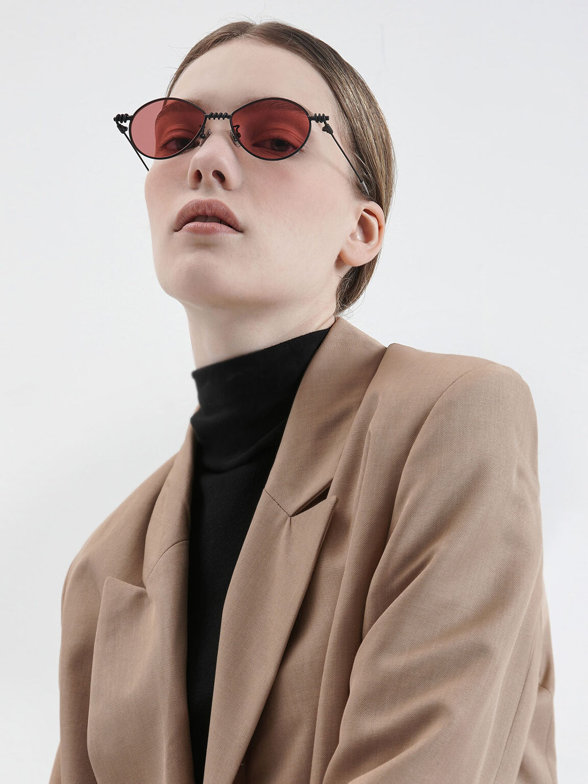 Twine Detail Oval Sunglasses, Red, hi-res