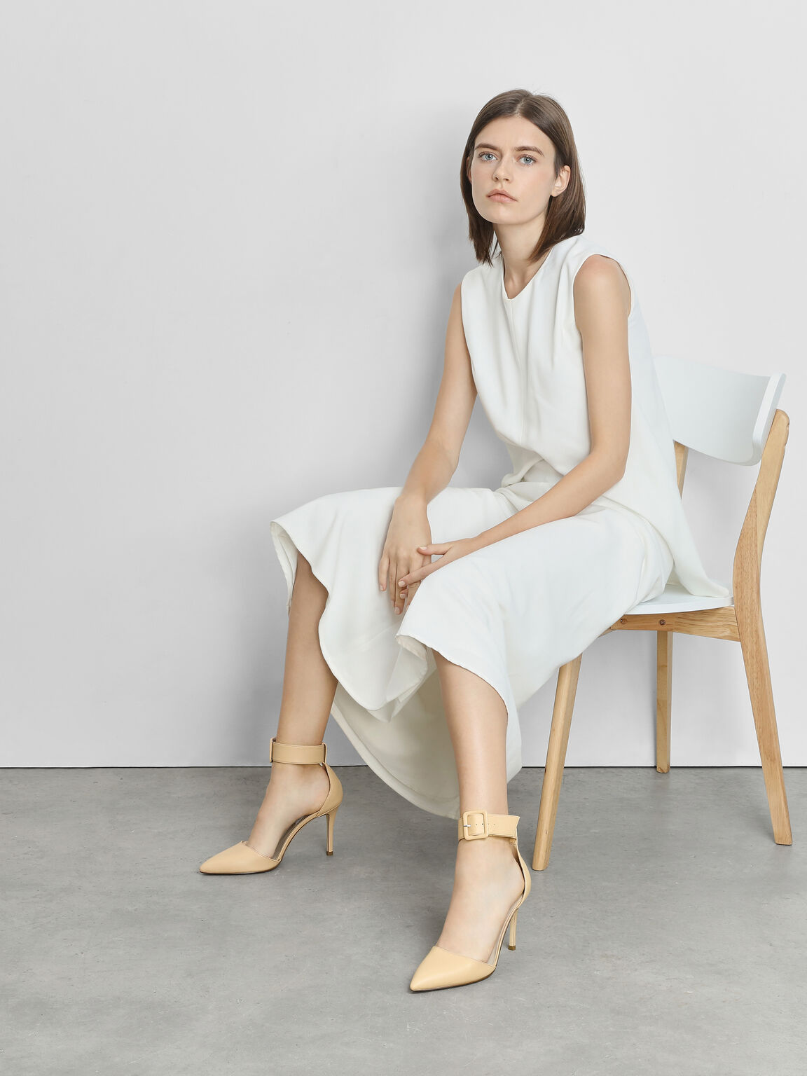 Ankle Cuff Heels, Nude, hi-res