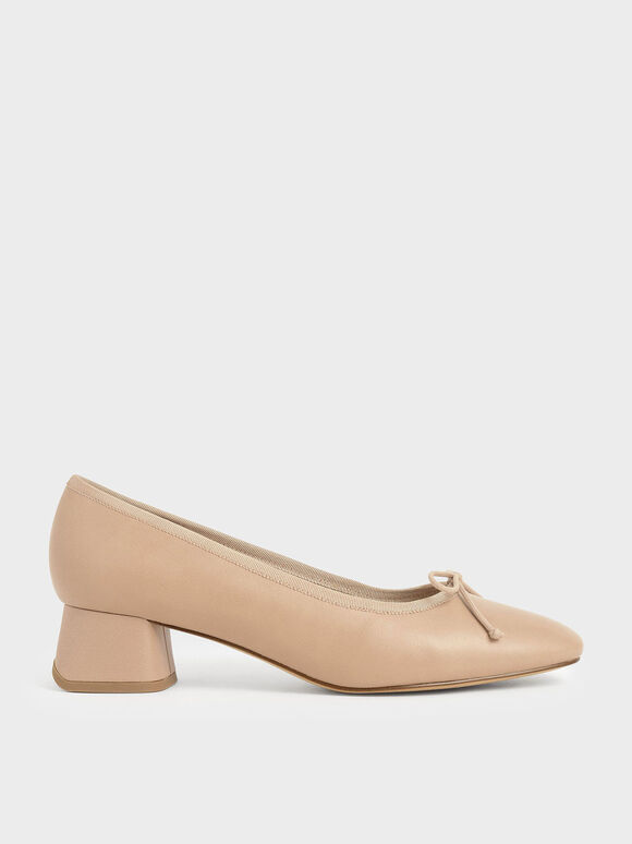 Bow Block Heel Pumps, Nude, hi-res