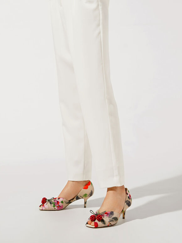 Cherry Embellished Peep-Toe D'Orsay Pumps, Multi, hi-res