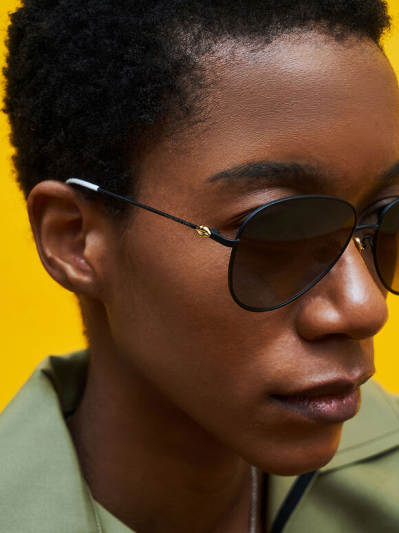 Aviator Sunglasses, Black, hi-res