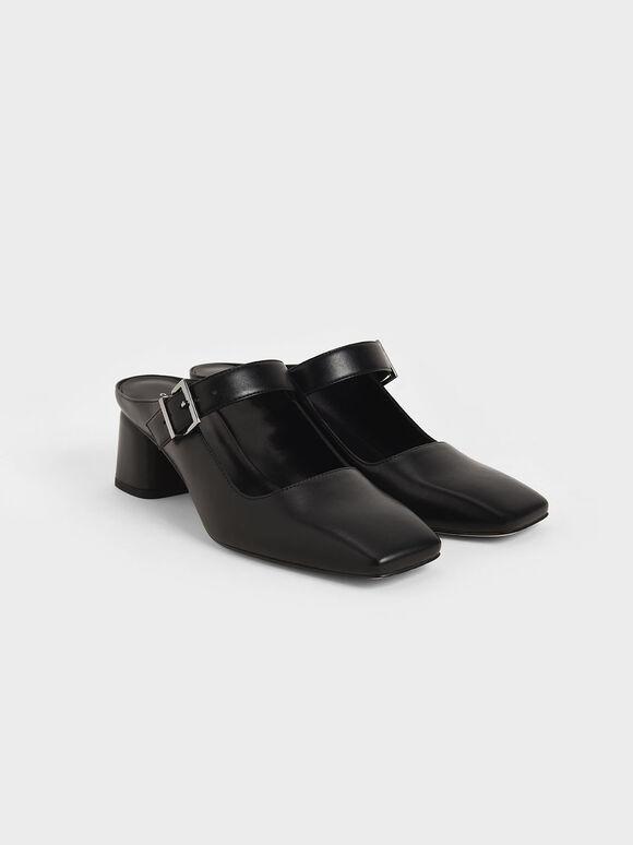 Mary Jane Block Heel Mules, Black, hi-res