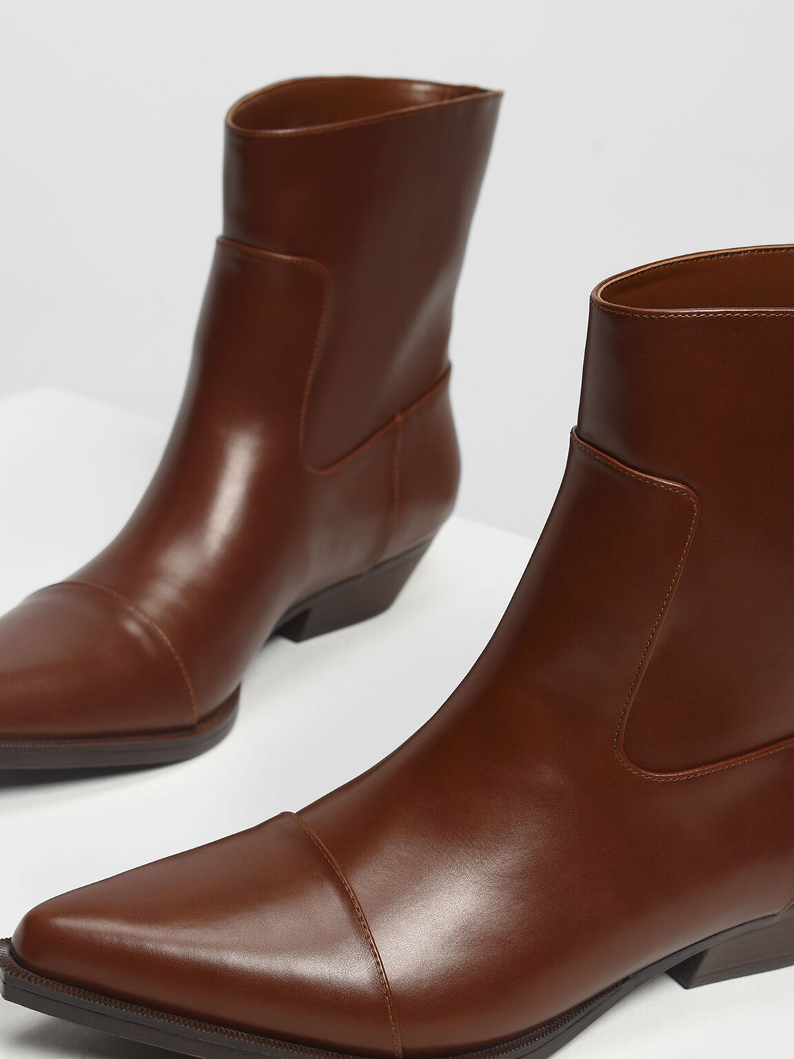 Pointed Calf Boots, Cognac, hi-res
