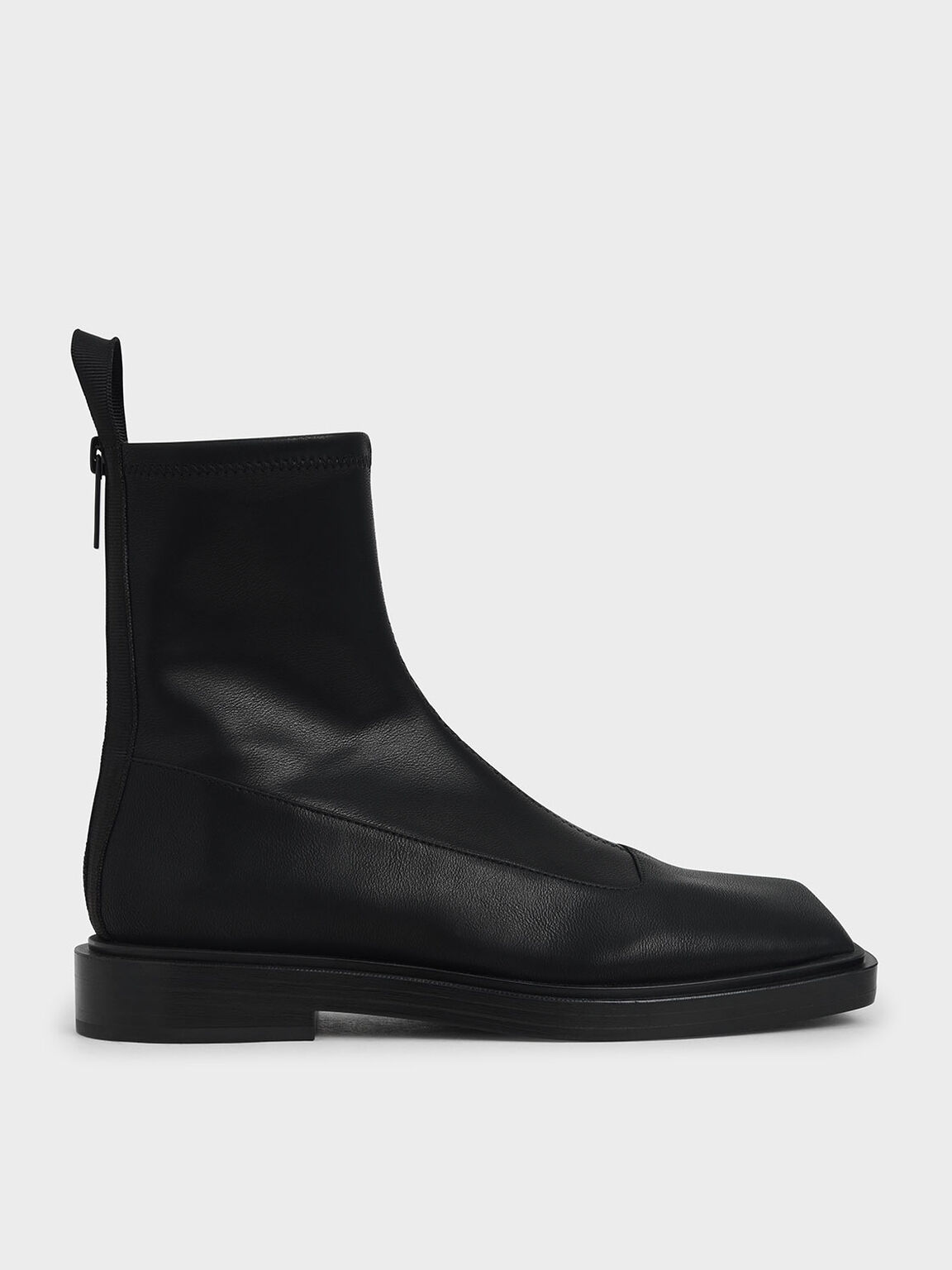 Sculptural Ankle Boots, Black, hi-res
