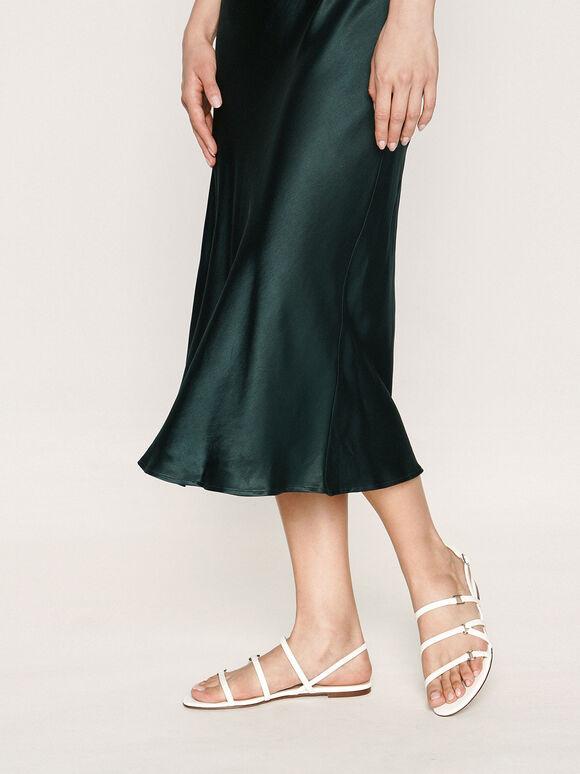 Tri-Strap Slingback Sandals, White, hi-res