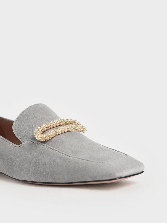 Metallic Accent Loafers ( Kid Suede), Sage Green, hi-res