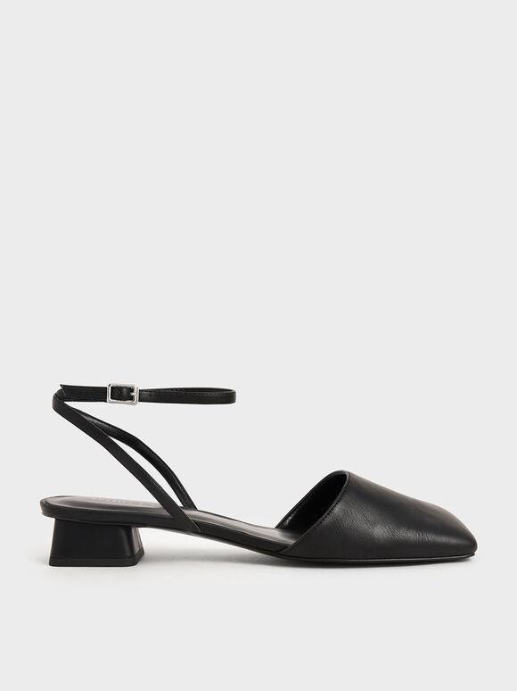 Square Toe Ankle Strap Pumps, Black, hi-res
