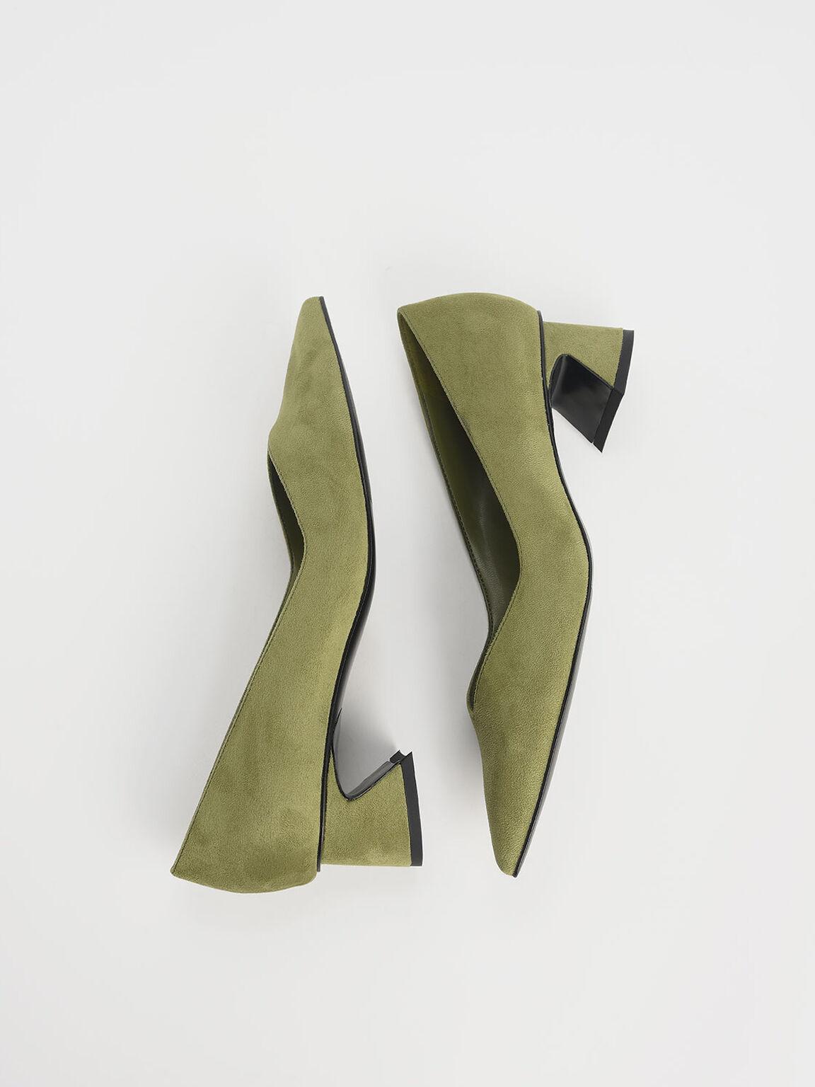 Curved Block Heel Textured Pumps, Olive, hi-res