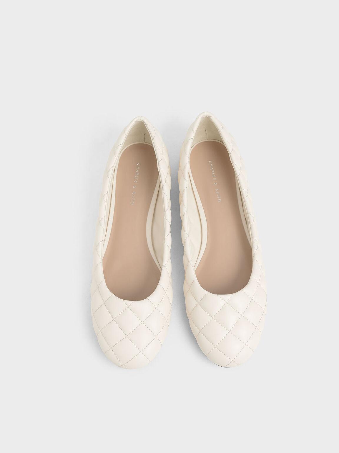 Quilted Ballerina Flats, Chalk, hi-res
