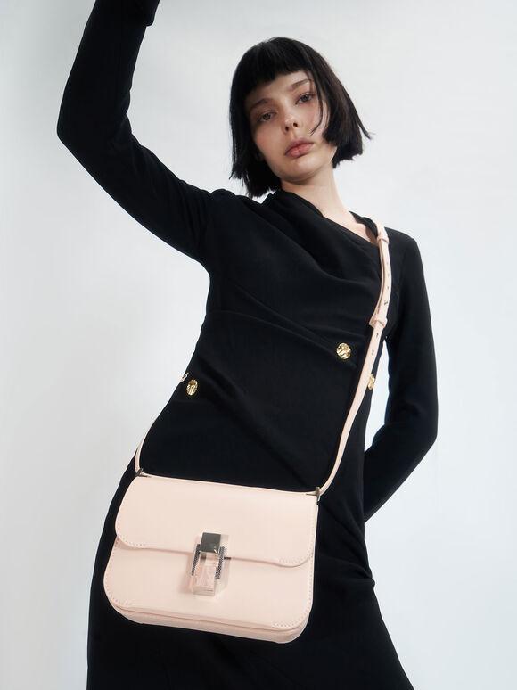 Stone-Embellished Crossbody Bag, Light Pink, hi-res