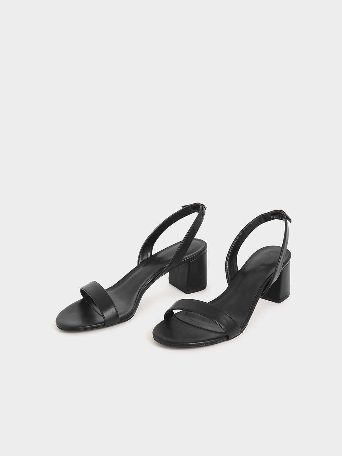 Slingback Heeled Sandals, Black, hi-res